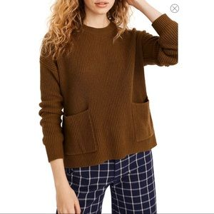 NWT Madewell Patch Pocket Pullover Sweater Brown